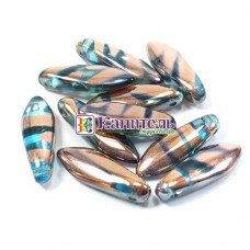 Glass Daggers 5x16мм Aqua Capri Gold Stripes