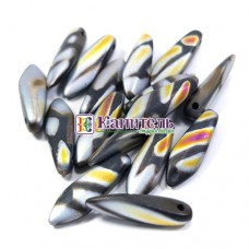 Glass Daggers 5x16мм Jet Marea Stripes Matted
