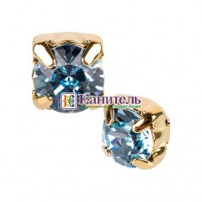 Chaton Montees SWAROVSKI 6mm Aquamarine /Gold/