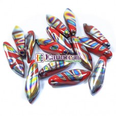 Glass Daggers 5x16мм Opaque Red Vitrail Stripes